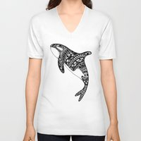 killer whale V-neck T-shirts featuring Killer Whale by Emma Barker