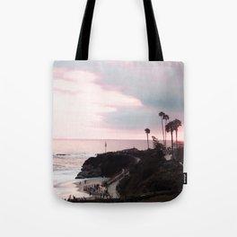Laguna Beach | LoFi Relaxed Aesthetic Pinkish Sunset Palm Trees Hippie Ocean Horizon Waves Tote Bag