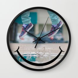 Smiley Face Puddle Wall Clock