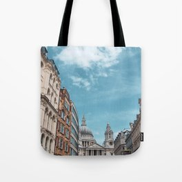 English Street Scene with St Paul's Cathedral Tote Bag