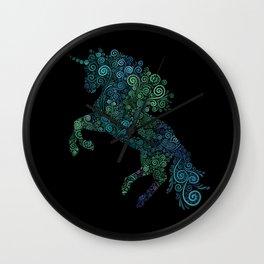 Green and Blue Unicorn Filix Wall Clock