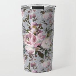 Blush blue pink coral green watercolor botanical roses Travel Mug