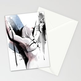 The beauty of tight binding, Naked body tied up to a pole, Nude art, Fine-art shibari rope bondage Stationery Cards