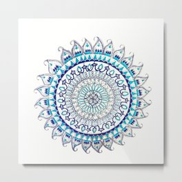 Blue and Silver Metallic Detail Mandala Metal Print