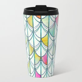 Pencil & Paint Fish Scale Cutout Pattern - white, teal, yellow & pink Travel Mug