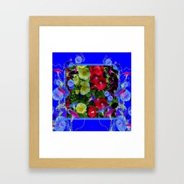 HOLLYHOCKS & MORNING GLORIES COTTAGE BLUE ART Framed Art Print