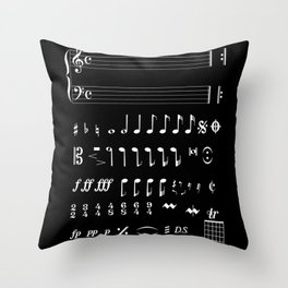 Musical Notation Negative Throw Pillow