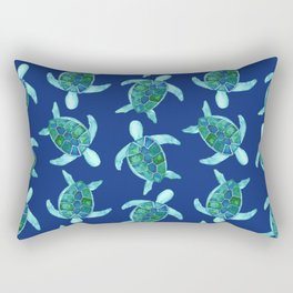 Save the Sea Turtles |Watercolor Blue Green| Renee Davis Rectangular Pillow