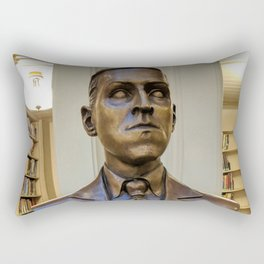 H.P. Lovecraft Master of Horror & Cthulhu Copper Bust at Providence Athenaeum Library  Rectangular Pillow