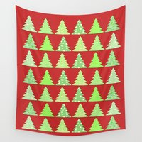 christmas tree Wall Tapestries featuring Christmas Tree by Laura Maria Designs