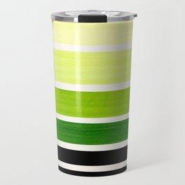 Sap Green Minimalist Mid Century Staggered Stripes Rothko Color Block Geometric Art Travel Mug