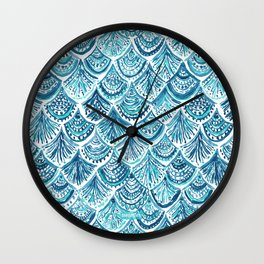 NAVY LIKE A MERMAID Fish Scales Watercolor Wall Clock
