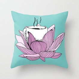 Lotus coffee Throw Pillow