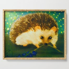 Hedgehog with Bluebells (Painting) Serving Tray