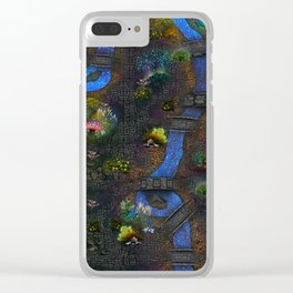 Game map for fantasy world Alien planet Pod's transmission game art Clear iPhone Case