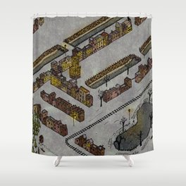 Wintery Town Shower Curtain