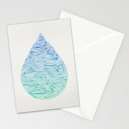 Water Drop – Blue Ombré Stationery Cards