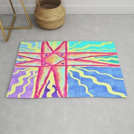 Summer Sun Abstract Digital Painting Rug