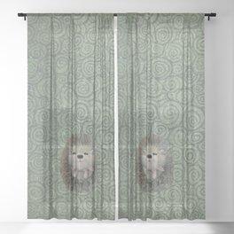 Cute Baby Hedgehog Sheer Curtain