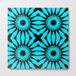 blue & Black Pinwheel Flowers Metal Print