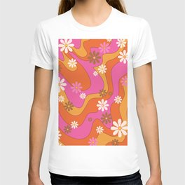Groovy 60's and 70's Flower Power Pattern T-shirt