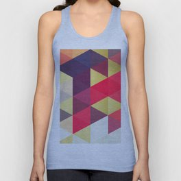 Colorful and golden geometric triangles IV Unisex Tank Top