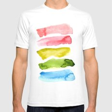 Watercolor Wash White Mens Fitted Tee MEDIUM