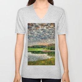 Boats, Blackwell, Silver Lake, DuPage County, Warrenville, Illinois, Sunrise Clouds Unisex V-Neck