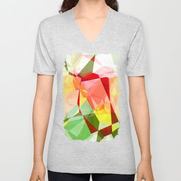 Red Rose with Light 1 Abstract Polygons 2 Unisex V-Neck