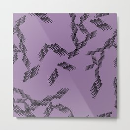 Geometric pattern with lines and abstract shapes in black with a purple background Metal Print