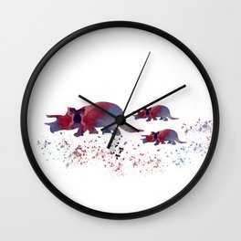 Triceratops (and triceratops babies) Wall Clock