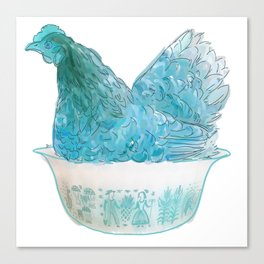 Animals in vintage bowls: Chicken Canvas Print