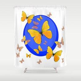 YELLOW BUTTERFLIES SWARM & BLUE RING MODERN ART Shower Curtain