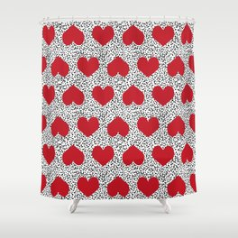 Hearts pattern black and white scattered painted dots minimal valentines day gifts Shower Curtain