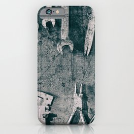 Dirty Monkey Spanner in Black and White iPhone Case