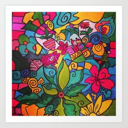 Flower doodles Art Print