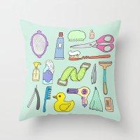 bath Throw Pillows featuring Bath by Lera Efremova