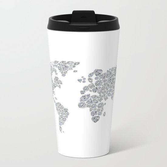 Diamonds World Map Metal Travel Mug