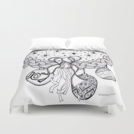 Christmas Zentangle Swag in Black and White for Adult Colorists Duvet Cover