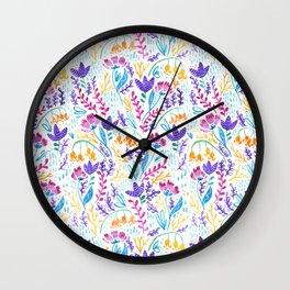 Wonderland Flower Pattern - White Background Wall Clock