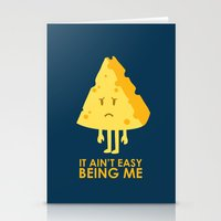 sayings Stationery Cards featuring It ain't easy being cheesy by Picomodi