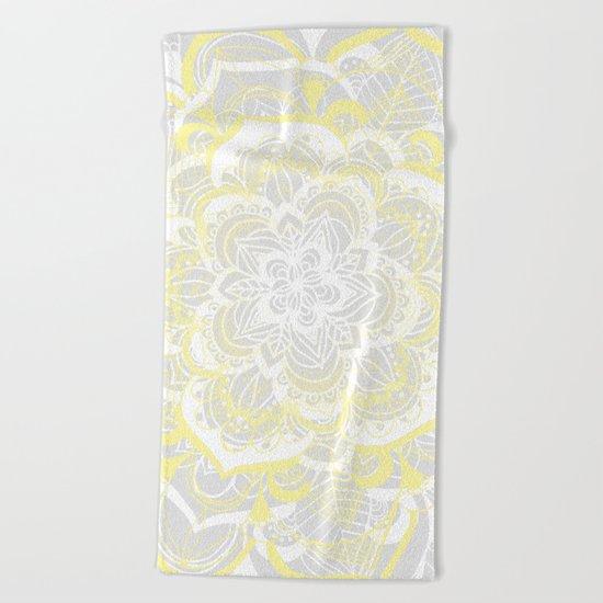 Woven Fantasy - Yellow, Grey & White Mandala Beach Towel