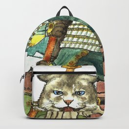 Samurai Cat with a Spear and 2 Swords Backpack