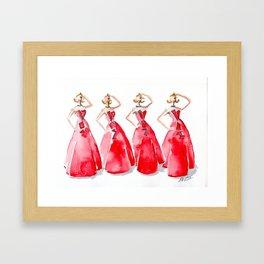 Rouge on the Runway Fashion Illustration Framed Art Print