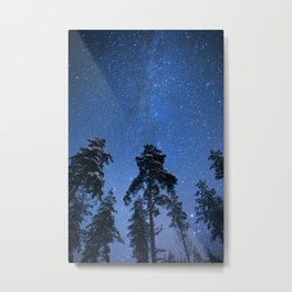 Shimmering Blue Night Sky Stars Metal Print