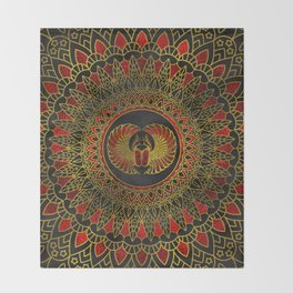 Egyptian Scarab Beetle - Gold and red  metallic Throw Blanket