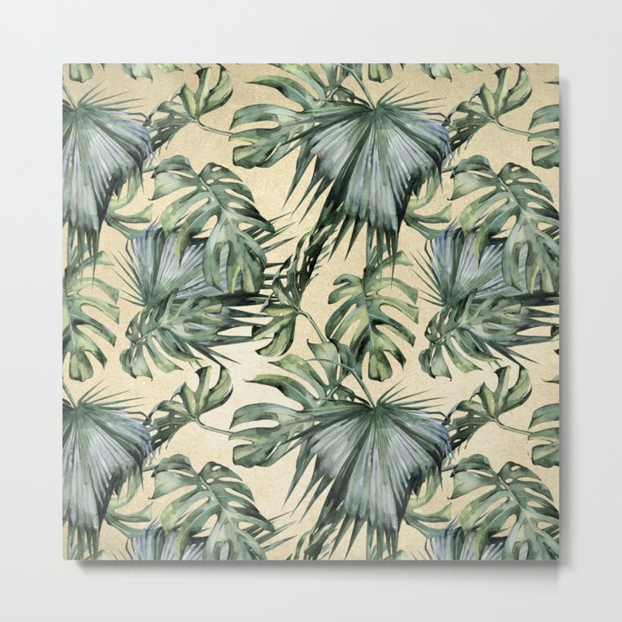 Palm Leaves Classic Linen Metal Print