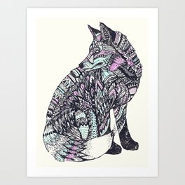psychedelic fox Art Print