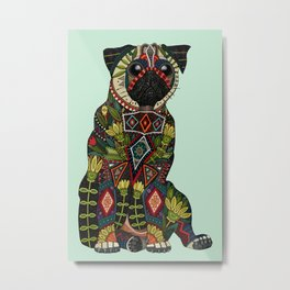 pug love mint Metal Print