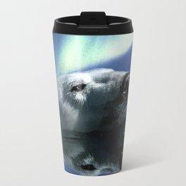 Aurora Dreaming - Swimming Polar Bear Travel Mug